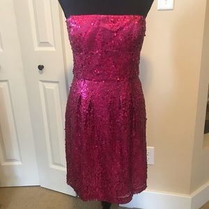 Pink BCBG cocktail dress with sequins. Size 6 NWT.